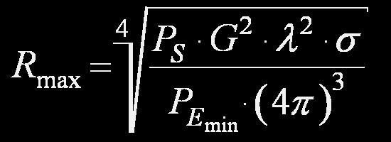 Radar denklemi: Bu formüle tıklarsanız, radar denkleminin çıkartılmasını anlatan sayfaya yönlendirilirsiniz.